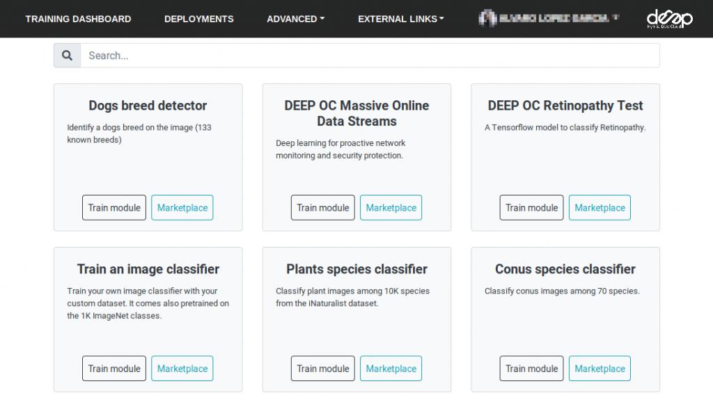 DEEP training dashboard screenshot